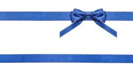 蓝色被隔绝的缎弓和丝带-集合18 免版税库存图片