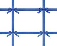 蓝色被隔绝的缎弓和丝带-集合30 免版税库存图片