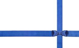 蓝色被隔绝的缎弓和丝带-集合11 免版税库存照片