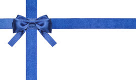 蓝色被隔绝的缎弓和丝带-集合2 免版税库存图片