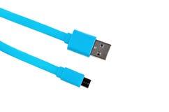 蓝色被隔绝的usb缆绳微usb 免版税库存图片