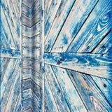 蓝色被风化的木门纹理 库存照片