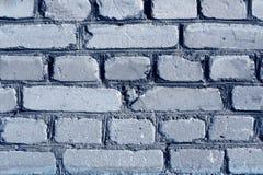 蓝色被风化的砖墙纹理 免版税图库摄影