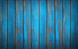 蓝色被洗涤的木纹理 背景老面板 库存照片