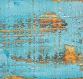 蓝色被绘的老土气破旧的木纹理 免版税库存图片