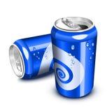 蓝色装碳酸钠于罐中 免版税库存照片