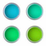 蓝色装绿色油漆于罐中 图库摄影