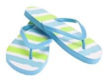 蓝色触发器绿色凉鞋 免版税库存图片
