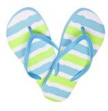 蓝色触发器绿色重点凉鞋形状 免版税库存图片