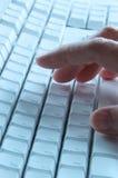 蓝色计算机键盘 免版税库存照片