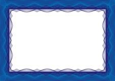蓝色证明或文凭模板框架-边界 库存例证