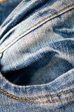 蓝色详细资料牛仔裤口袋纹理 免版税库存照片
