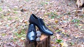蓝色详细资料花袜带系带婚礼 新郎辅助部件 鞋子 股票视频