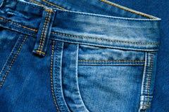 蓝色详述牛仔裤 矿穴 免版税图库摄影