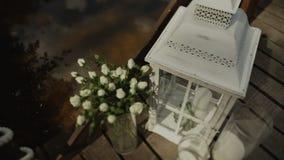 蓝色详细资料花袜带系带婚礼 美丽的花decration 开花构成 影视素材