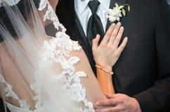 蓝色详细资料花袜带系带婚礼 免版税库存照片