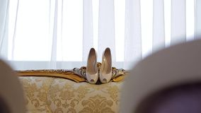 蓝色详细资料花袜带系带婚礼 股票录像