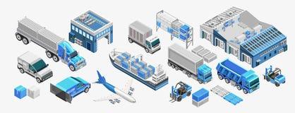 蓝色货运和仓库 向量例证
