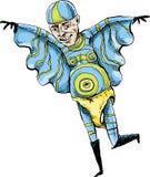 蓝色贴身衬衣的奇怪的超级英雄 免版税库存照片