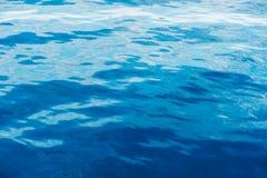 蓝色起波纹的水背景  免版税库存图片
