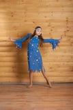 蓝色跳舞礼服女孩 图库摄影
