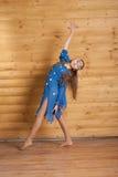 蓝色跳舞礼服女孩 库存图片