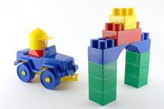 蓝色车的机械塑料玩具 免版税库存照片