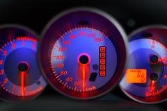 蓝色车速表 库存图片
