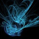 蓝色轻的卷毛眩晕螺旋云彩曲线未来派分数维数字艺术 库存例证