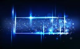 蓝色轻的发光的作用霓虹框架标记,消息块装饰庆祝卡片圣诞节冬天季节,星驱散 皇族释放例证