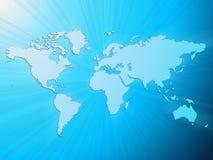 蓝色轻的映射世界 免版税库存图片