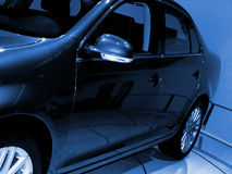 蓝色轿车口气 图库摄影