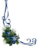 蓝色边界圣诞节角落设计 库存例证