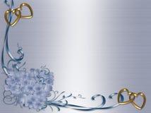 蓝色边界花卉邀请缎婚礼 免版税库存图片