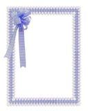 蓝色边界雏菊方格花布丝带 免版税图库摄影