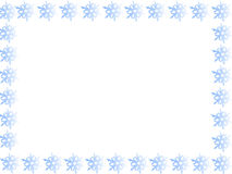 蓝色边界雪花 免版税库存照片