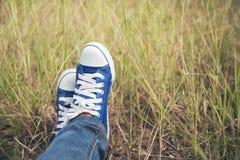蓝色运动鞋、俏丽的女服牛仔裤和一双蓝色运动鞋在一个绿色草甸 免版税库存照片