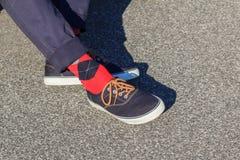 蓝色运动鞋佩带与红色和蓝色格子花呢披肩袜子 免版税图库摄影