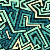 蓝色迷宫无缝的样式 免版税库存照片