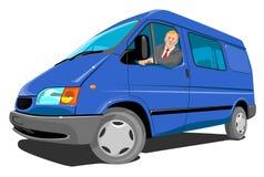 蓝色送货车 免版税库存照片