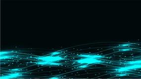 蓝色透明抽象光亮的不可思议的宇宙不可思议的能量标示,发出光线用强光,并且小点和光在一黑暗的backgro发光 库存例证