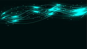 蓝色透明抽象发光的不可思议的宇宙不可思议的能量标示,发出光线用强光,并且小点和光在绿松石ba发光 库存例证