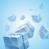 蓝色透明立方体抽象背景 免版税库存图片