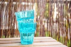 蓝色透明玻璃 免版税库存图片
