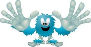 蓝色逗人喜爱的友好毛茸的妖怪 免版税库存图片