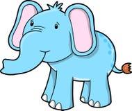 蓝色逗人喜爱的大象向量 免版税库存图片