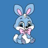 蓝色逗人喜爱的小兔子坐的动画片 免版税图库摄影