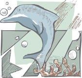 蓝色逗人喜爱的海豚 免版税库存图片