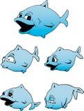 蓝色逗人喜爱的鱼 免版税库存照片
