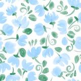 蓝色逗人喜爱的水彩开花无缝的样式 皇族释放例证